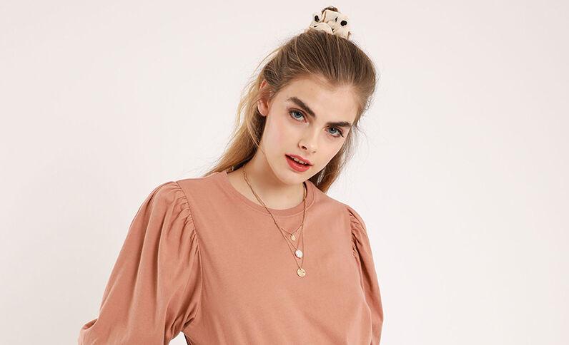 T-shirt manches ballon rose pâle