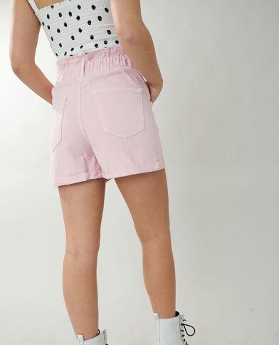 Jeansshort met hoge taille pastelroze - Pimkie
