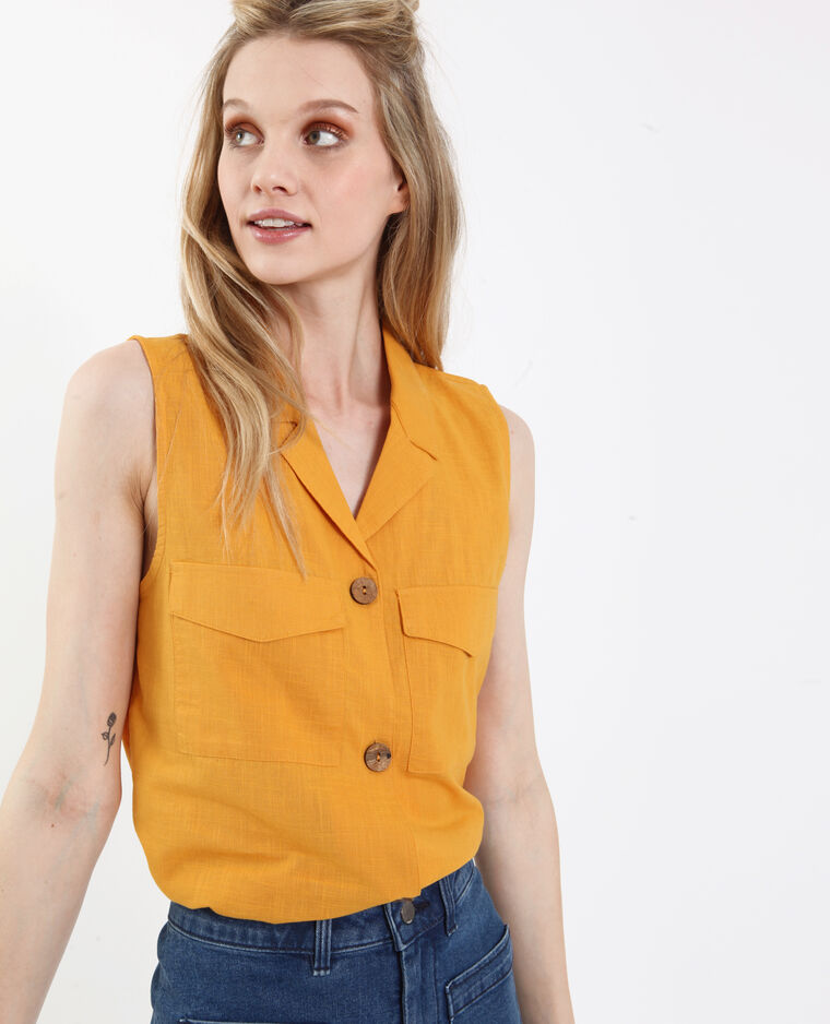 Mouwloze blouse geel