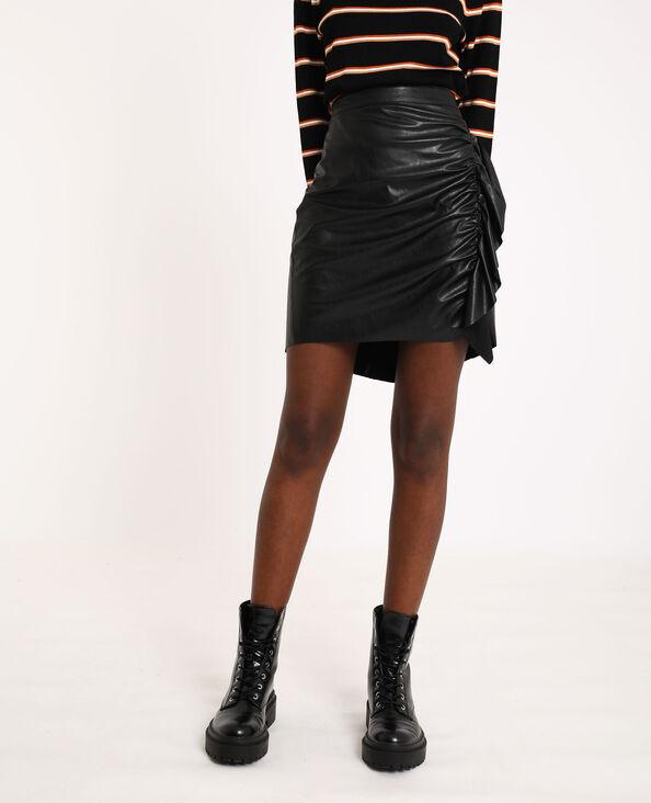 Korte rok van kunstleer zwart