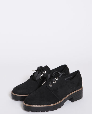 Derbies imitation daim noir