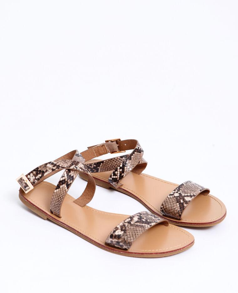 Platte sandalen geweven beige