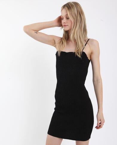 Gesmokte jurk zwart