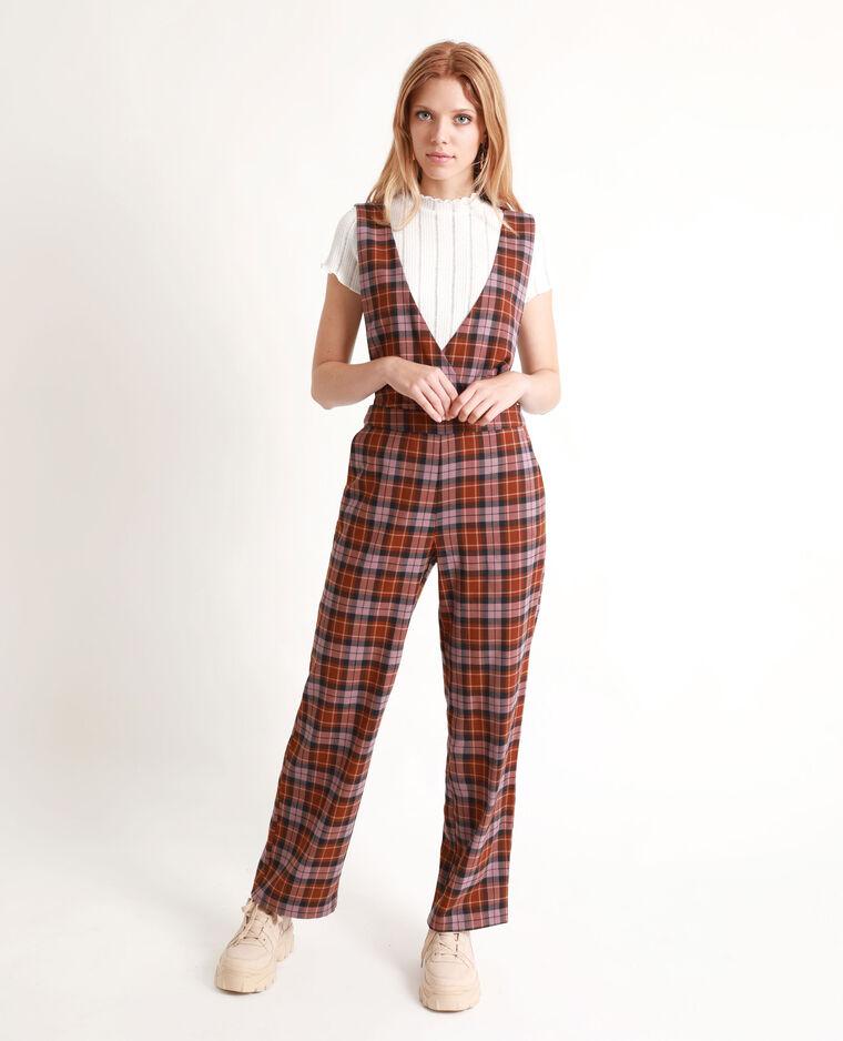 Combi-pantalon à carreaux marron