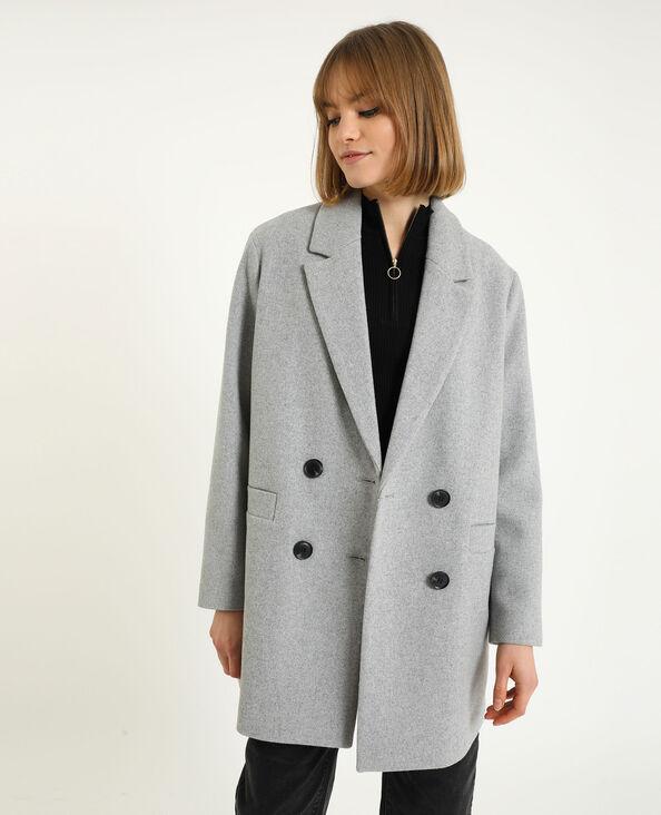 Manteau drap de laine gris chiné - Pimkie