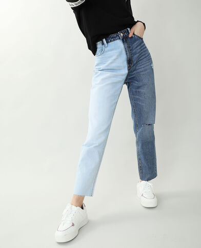 Jean mom straight bleu denim