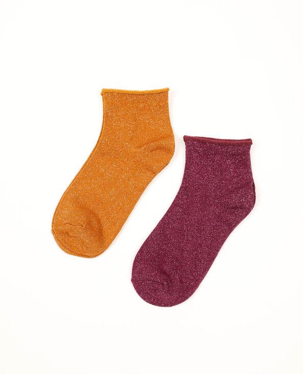 Lot de 2 paires de chaussettes lurex orange - Pimkie