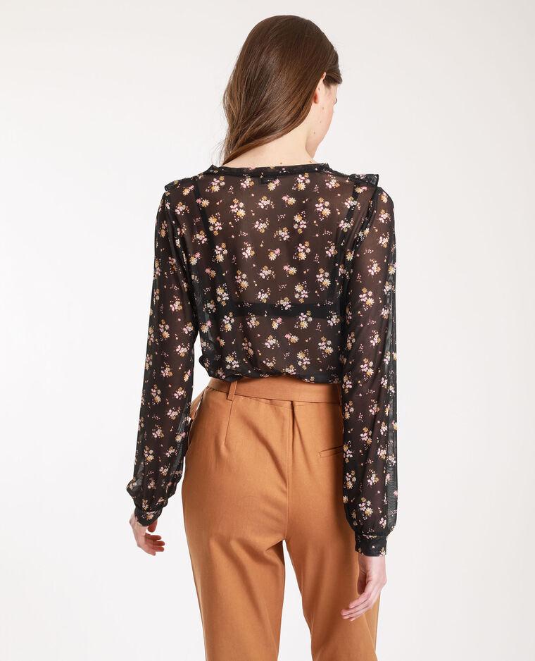 T-shirt résille à fleurs noir