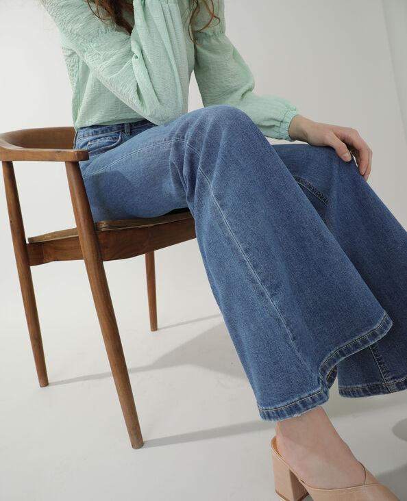 Jeans met hoge taille en brede pijpen denimblauw - Pimkie