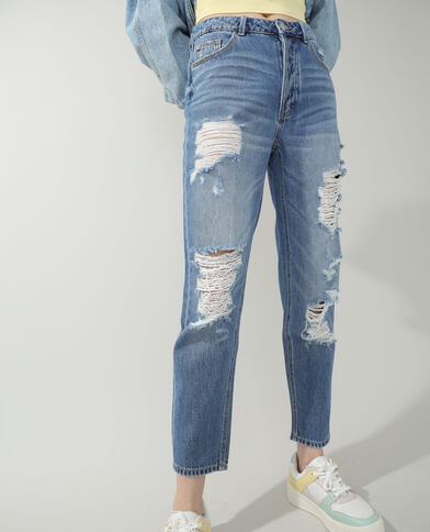 Jean straight high waist destroy bleu denim