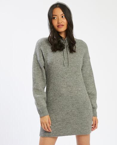 Trui-jurk met kap grijs - Pimkie