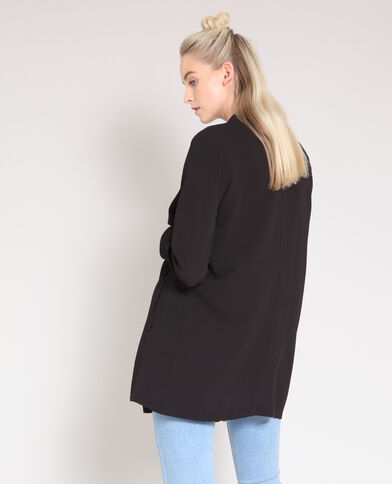 Halflang soepelvallend jasje zwart