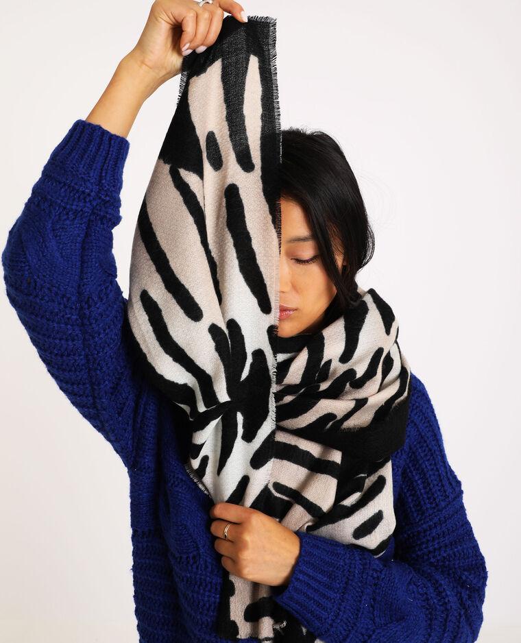 Sjaal met zebramotief zwart