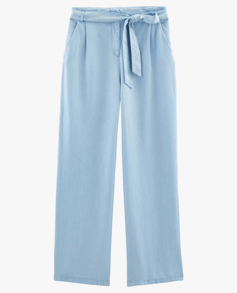 Pantalon à jambes larges bleu délavé