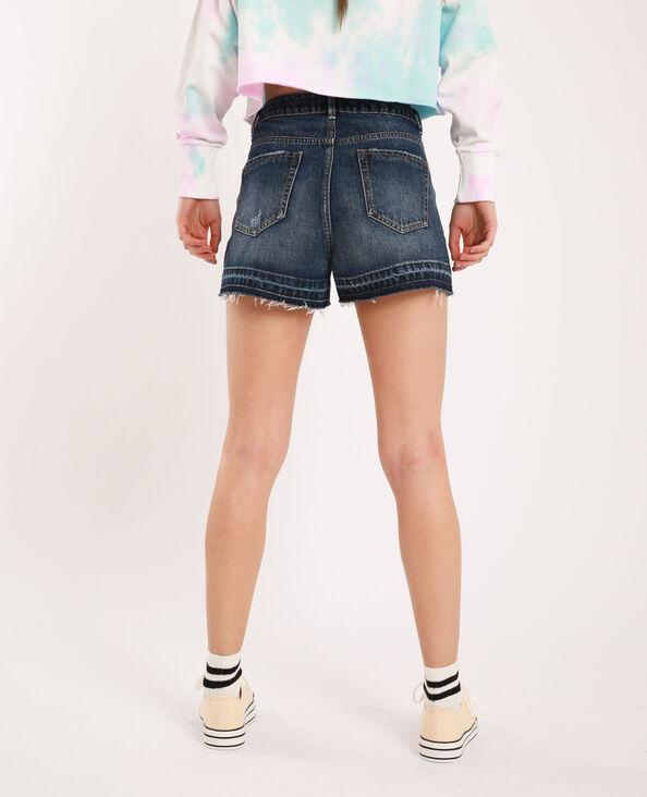 Raw cut jeansshort donkerblauw - Pimkie