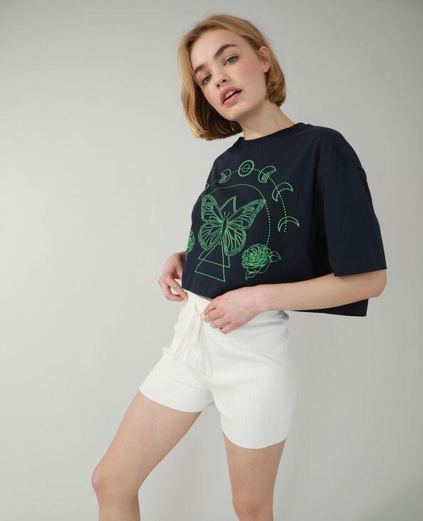 Cropped T-shirt marineblauw - Pimkie