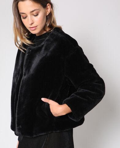 Veste courte en fausse fourrure noir