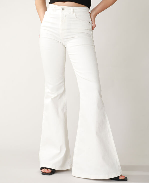 Flared jeans met hoge taille wit - Pimkie