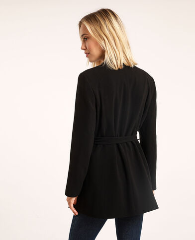 Blazervestje met riem zwart