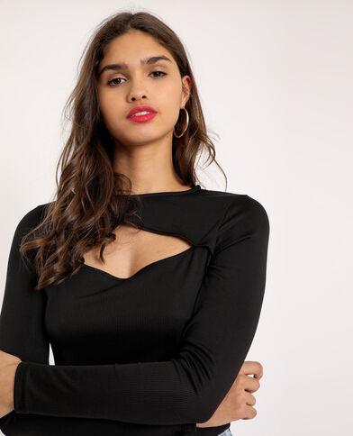 Open T-shirt zwart
