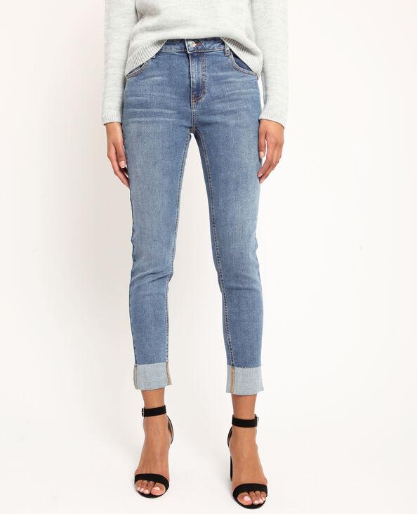 Rechte jeans met omslag denimblauw