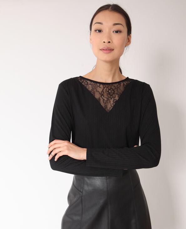Kanten T-shirt zwart