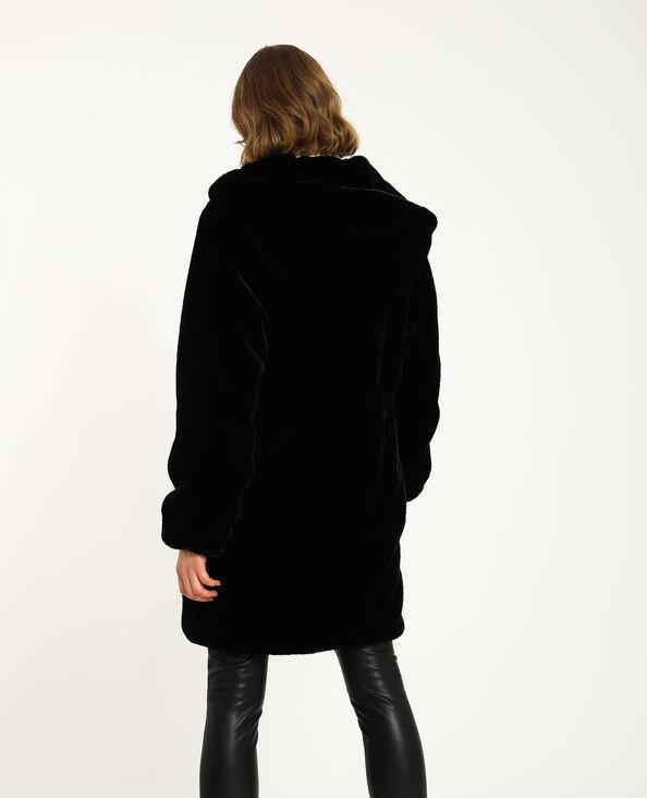 Mantel met nepbont zwart