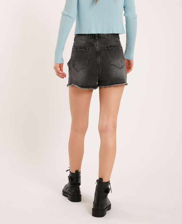 Short en jean high waist noir