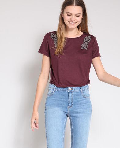 T-shirt met sieraden bordeauxrood