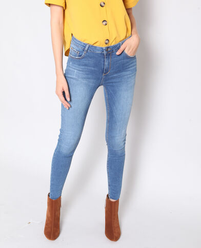 Jean skinny raw cut bleu denim