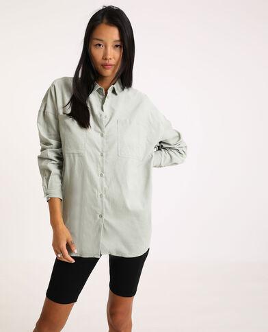 Oversized hemd van dun ribfluweel groen