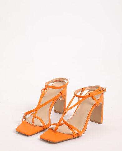 Sandales à talons orange