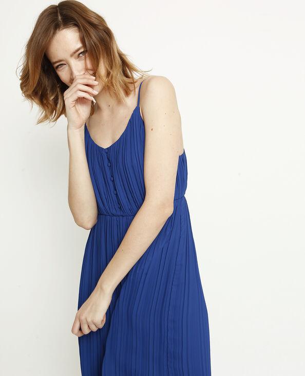 Lange geplooide jurk donkerblauw