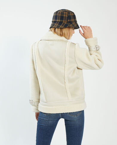 Korte jas van kunstleer en nepbont wit - Pimkie