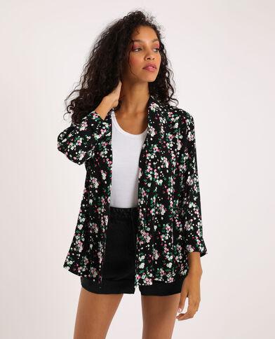 Soepel jasje met bloemenprint zwart