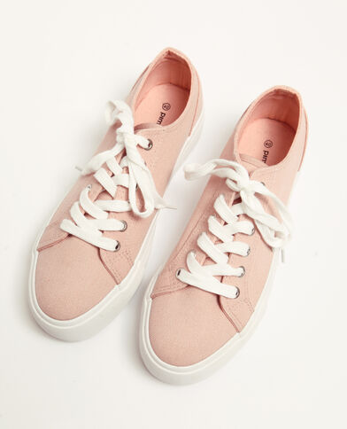 Stoffen sneakers met plateauzolen poederroze