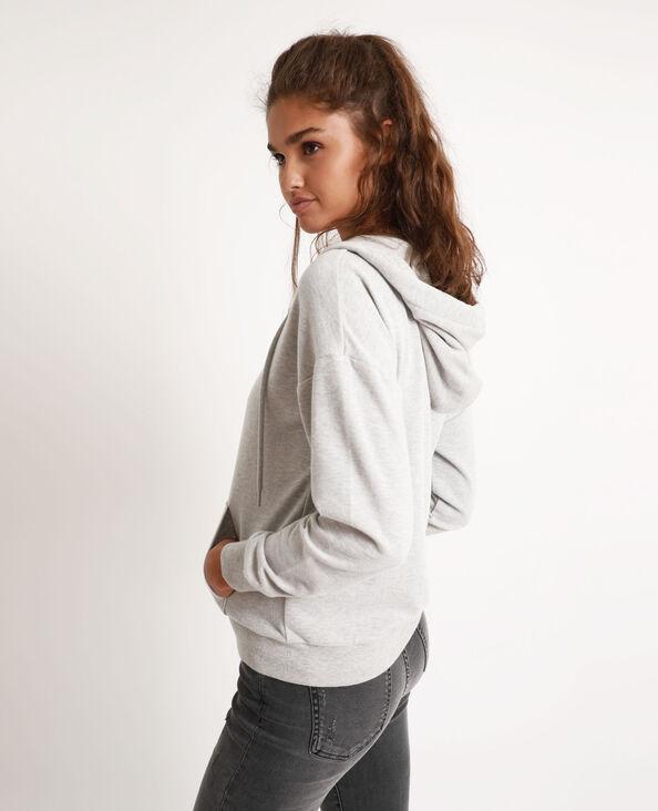 Sweater met kap en rits gemêleerd grijs