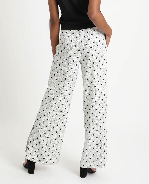 Soepelvallende broek met stippen wit