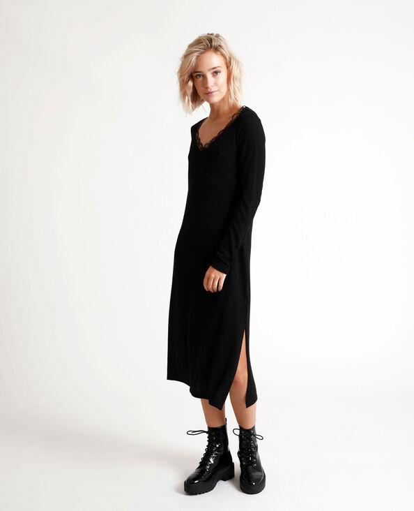 Lange jurk met kant zwart
