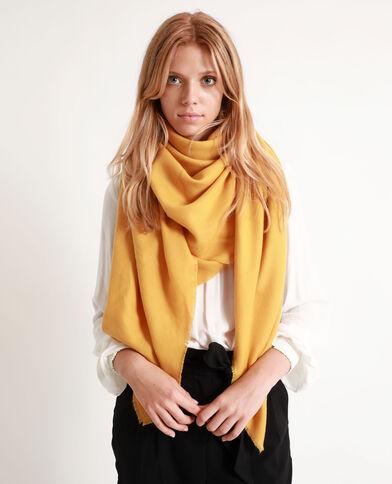 Sjaal met franjes aan de uiteinden geel