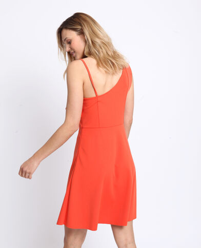 Asymmetrische jurk koraalrood
