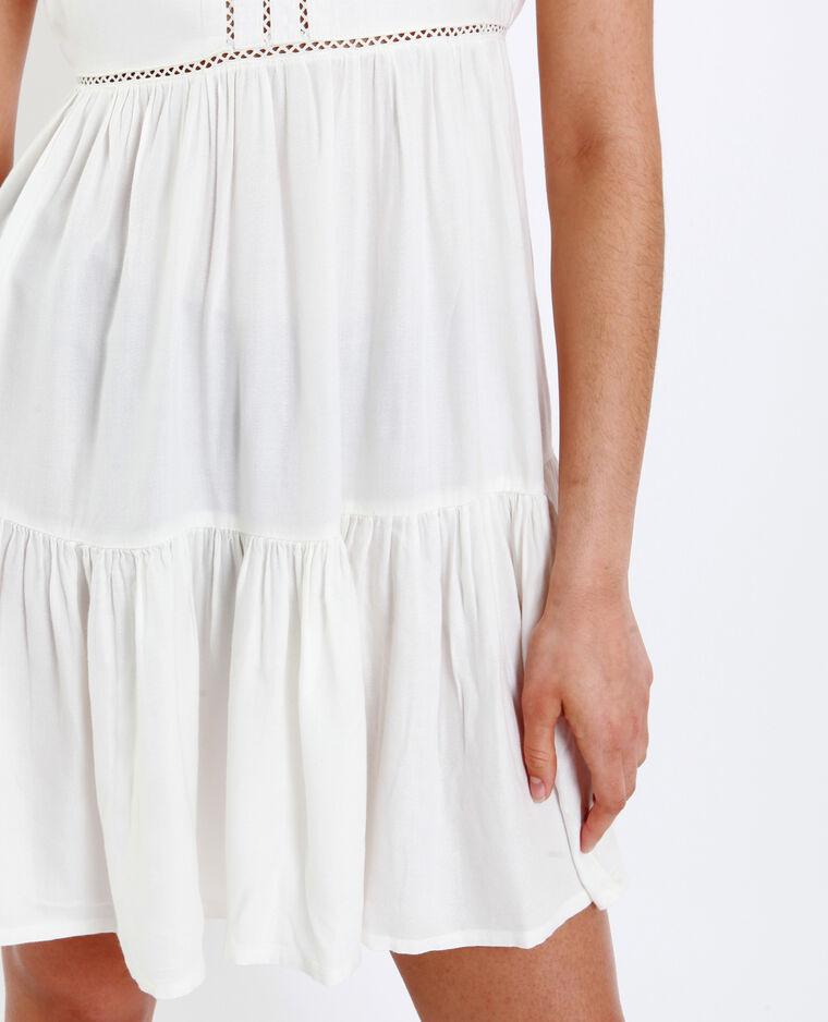 Korte opengewerkte jurk wit