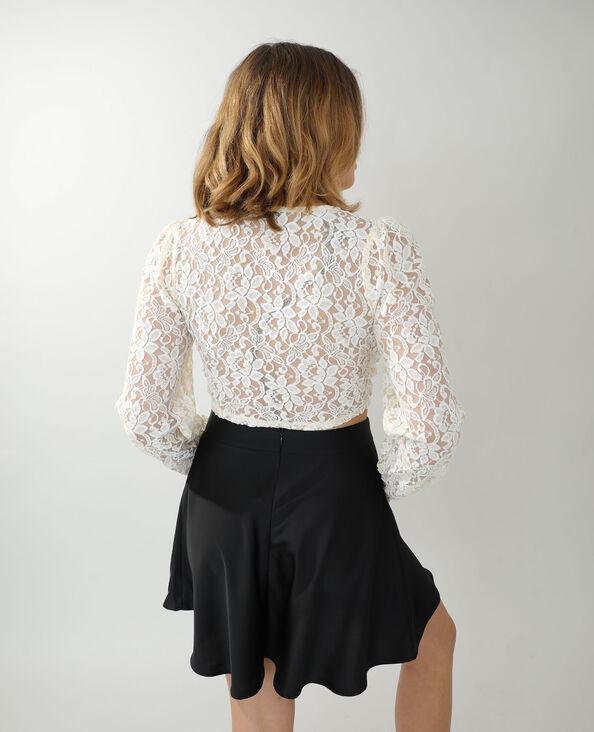 Cropped cardigan in guipure gebroken wit - Pimkie