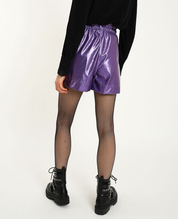 Short simili cuir violet
