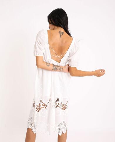Lange jurk met borduursels ecru