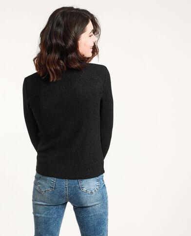 T-shirt avec col en plumetis noir
