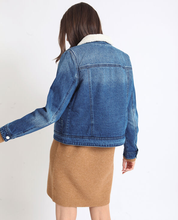 Veste en jean fourrée bleu denim