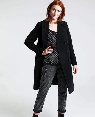 Lange rechte jas zwart