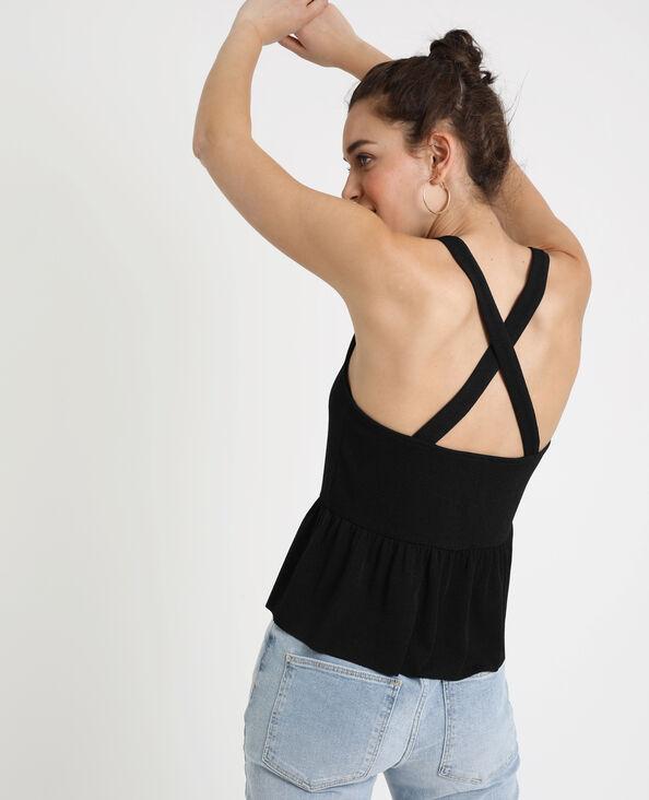 Topje met gekruiste schouderbandjes zwart