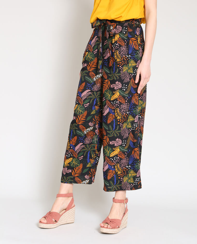 03ef887b7c10d Pantalon large imprimé noir - 140630899I0A   Pimkie